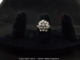14k White Gold Diamond Burst Ring