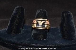 Black Hills Gold Eagle on Onyx Freedom Ring
