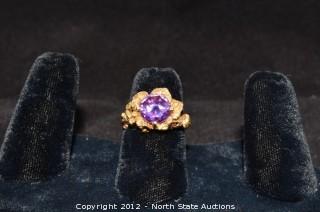14k Gold Amethyst Flower Ring