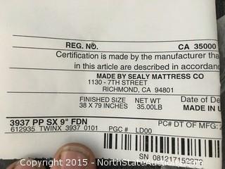 1 Sealy Box Spring TWINX FEN 3937