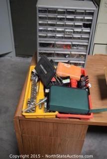 Socket Sets, Parts Bin with Hardware, Drill Bits