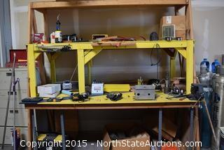 Workbench with Tools and Hardware