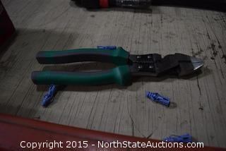 """Pipe Wrench, 2 Heavy Duty Pliers/Strippers, 3"""" Recline Hand Seamer, Kreg Automax Clamper"""