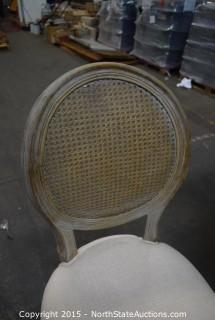 2 Wood and Fabric Dining Chairs
