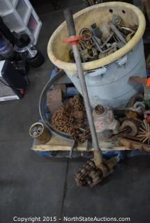 Pallet of Jack Stands, Fittings, Rods, Come-along, Chain
