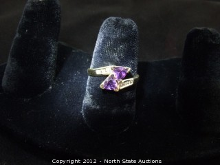 Amethyst and Diamond Gold double heart ring