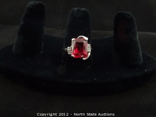 White Gold Ruby Cocktail Ring w/ Diamonds
