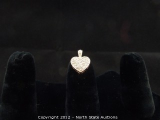 Diamond Encrusted Gold Heart Pendant