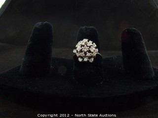 14k White Gold Diamond Burst Ring