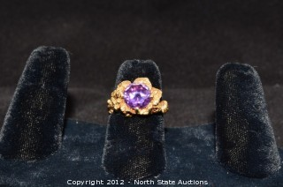 14k Gold Amethyst Flower Ring