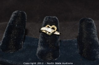Gold and Diamond Heart Ring