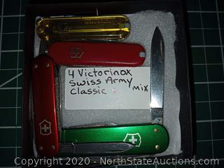 4 Victorinox Swiss Army Classic + Mix Knives