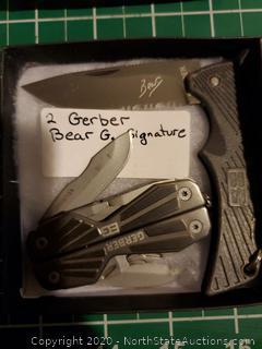 2 Gerber Bear G Signature Knives