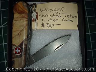 Wenger Serrated Teton Timber Camo Knife
