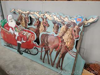 Vintage Santa and His Reindeer Wood Sign