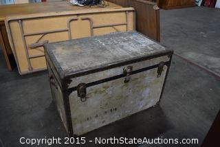 Vintage Chest, Rustic Kitchen Table, Folding Utility Table