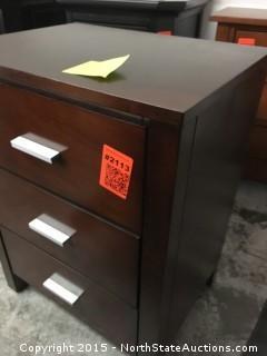 Dark Wood Night Stand 3 drawer