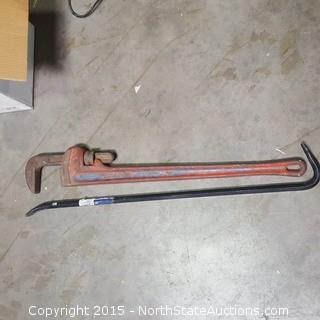 Pry Bar and Heavy Duty Pipe Wrench