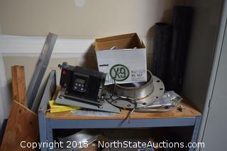 Grundfos Chemical Metering Pump, Shop Shelved Table, Rolling Cart, Copper Tubing