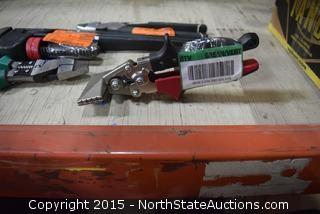 "Pipe Wrench, 2 Heavy Duty Pliers/Strippers, 3"" Recline Hand Seamer, Kreg Automax Clamper"
