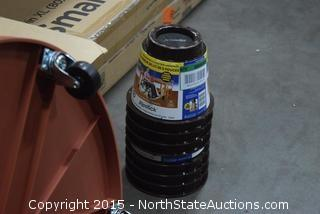 2 Sets of Bed Risers, 2 Potted Plant/Trash Can Wheeled Circular Carts, 2 Plastic Totes, Trash Can Lids
