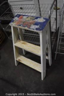 Wood Night Stand, Pantry Storage Cabinet, Side Chair, Rolling Wire Basket Cart, Wire Rack, Small Wood Step Ladder
