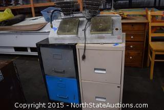 Emerson Compact Fridge, 2 2-Drawer File Cabinets, Shop Heater