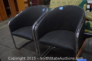 2 Fabric and Chrome Chairs, Octogonal Coffee Table, Futon Couch