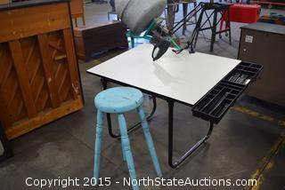 Drafting Table, Light, Stool