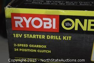 Ryobi 18v Cordless Starter Drill Kit
