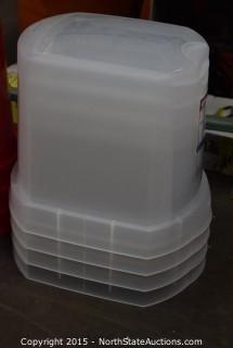 4 Sterilite Plastic Wrap Bins
