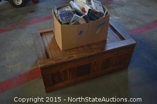 Wooden Chest and Box of Movies and CD's