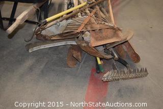 2 Wheelbarrows and Yard Tools