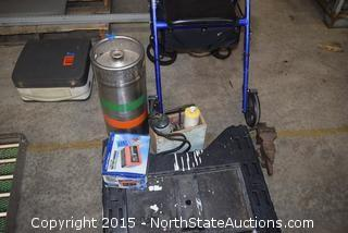 Saw Horse Battery Charger and Sierra Nevada Keg