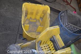 Mixed Lot of Mop Buckets and Eyewash Station
