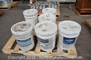 5 5 Gallon Buckets of Mixed Paints and Coats