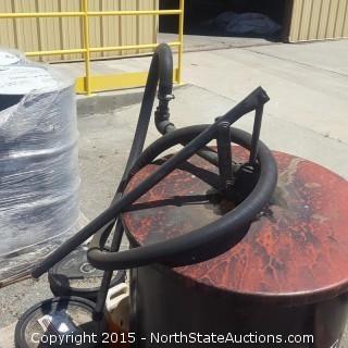 55 Gallon Oil Drum and 5 Gallon Buckets