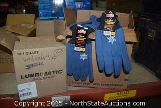 Lot of Gloves and Weedeating Wire