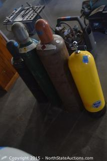 2 Acetylene 1 Compressed Oxygen and 1 Scuba tanks