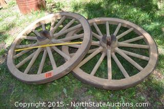 Lot of 2 Wagon Wheel Bench Sides