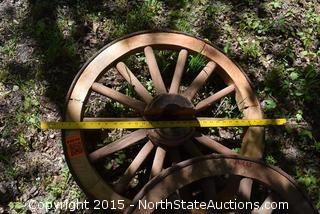 Lot of 2 Wagon Wheel Bench Sides and Base