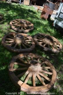 Lot of 4 Wagon Wheels