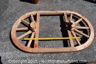 Wagon Wheel Coffee Table/Chandelier