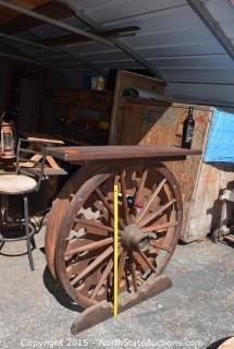 Wagon Wheel Wine Bottle Holder with Shelf