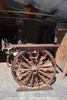 Wagon Wheel Wine Bottle Holder with Shelf