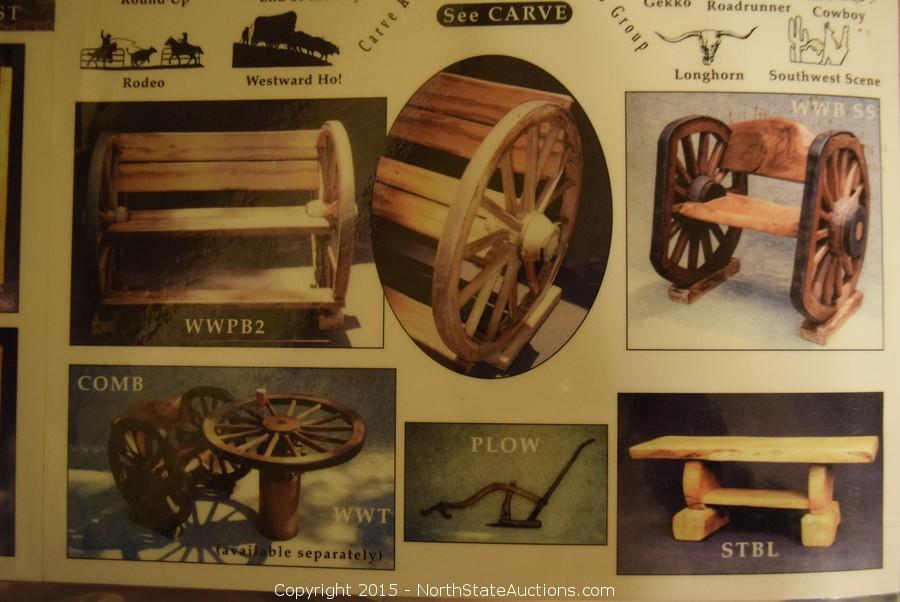 Rustic Furniture and Wagon Wheels Bankruptcy Auction in Grass Valley