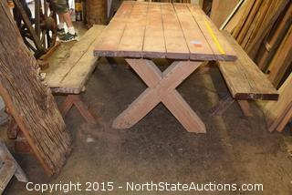 Nice Wood Table and Benches