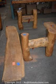 3 Pcs Large Wood Bench Parts