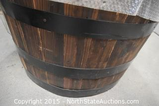 Half Real Wood Barrel Planter