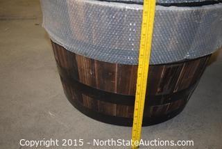 Half Real Wood Barrel Planter